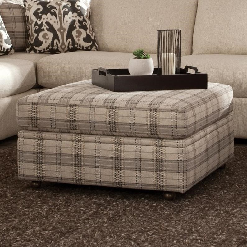 Square Storage Ottoman with Casters