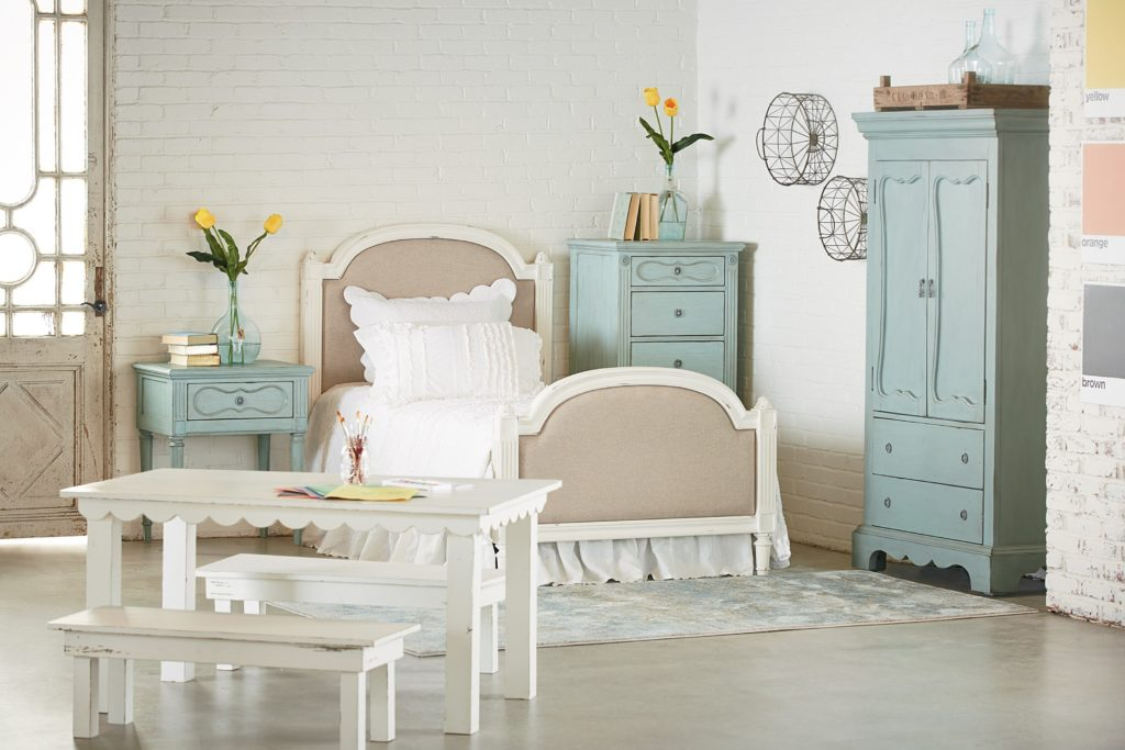 Magnolia Home French Inspired Twin Sisters Upholstered Bed