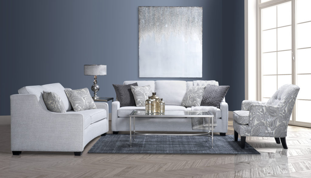 This transitional sofa, shown in grey, comes in a full-sized and condo-sized option.