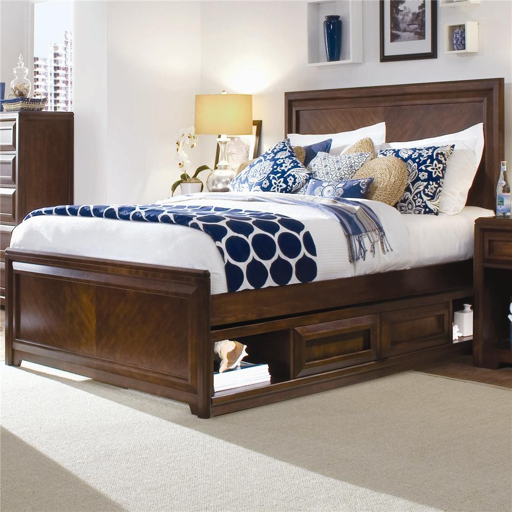 Lea Industries Elite   Expressions Twin Contemporary Panel Bed With  Underbed Drawer Box