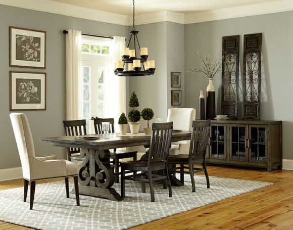 The Bellamy Dining set works beautifully with grey walls and accents.